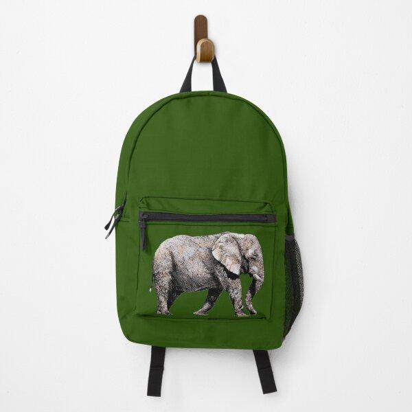 Majestic African Elefant bull on green background Backpack