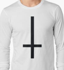 Black 90's Grunge Upside Down Antichrist Cross Long Sleeve T-Shirt