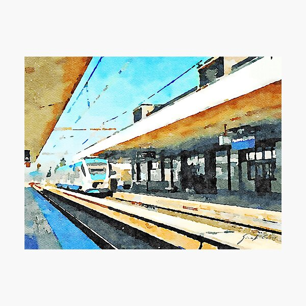 Train in Pescara railway station Photographic Print