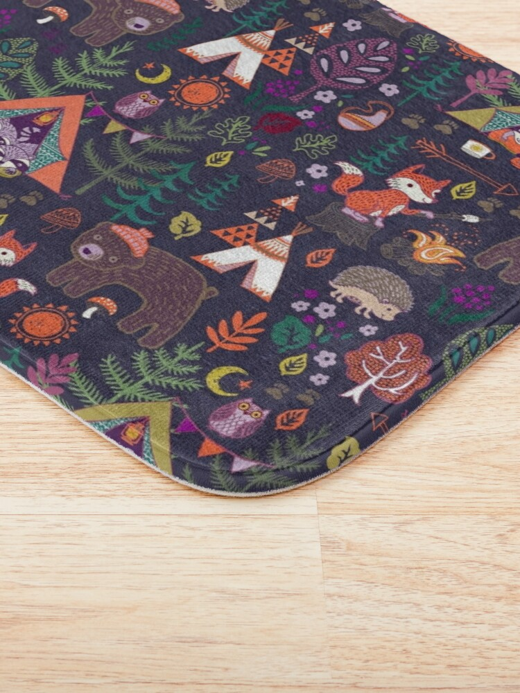 Alternate view of Woodland Animals Campout Bath Mat