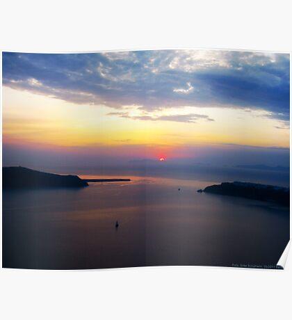 Sunset in Santorini Bay (Greece)  VRS2 Poster
