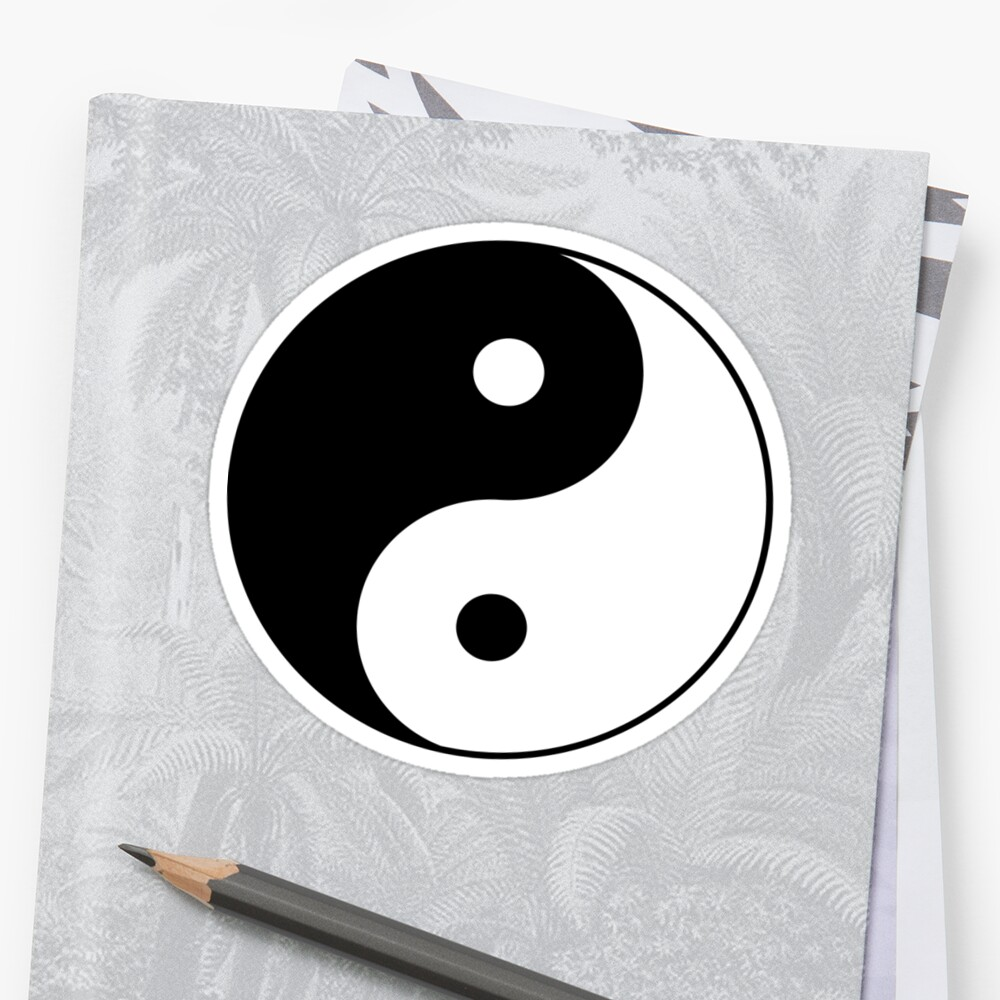 90's Grunge Hippie Peace Black and White Ying Yang Symbol by wakpowwallop