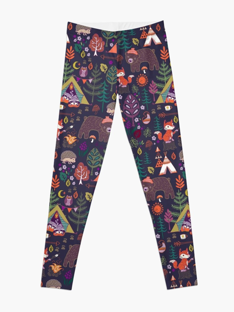 Alternate view of Woodland Animals Campout Leggings