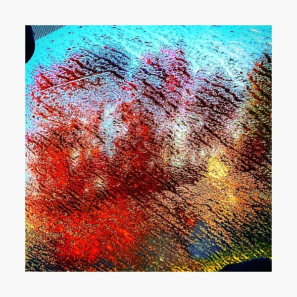 Blurred red tree Photographic Print