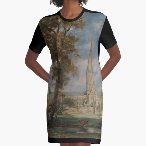 Salisbury Cathedral from the Bishop's Grounds Graphic T-Shirt Dress