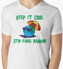 """Earth Day """"Keep It Cool - Stop Global Warming"""" Men's V-Neck T-Shirt"""