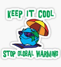 """Earth Day """"Keep It Cool - Stop Global Warming"""" Sticker"""