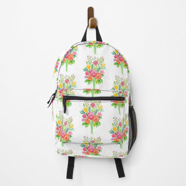 Watercolor Spring Flowers Bouquet  Backpack