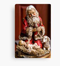Santa Adoring the Christ Child Canvas Print