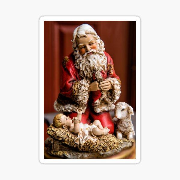 Santa Adoring the Christ Child Sticker