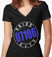 'Brick City 07106' (w) Women's Fitted V-Neck T-Shirt