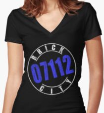'Brick City 07112' (w) Women's Fitted V-Neck T-Shirt