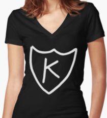 Kurt Cobain - K tattoo, K records (White)  Women's Fitted V-Neck T-Shirt