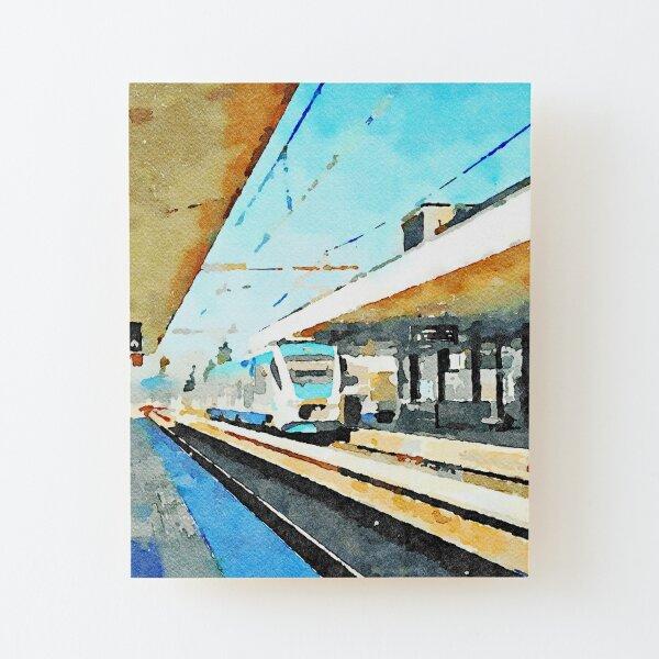 Train in Pescara railway station Wood Mounted Print