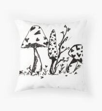 Wonderland Mushrooms Throw Pillow