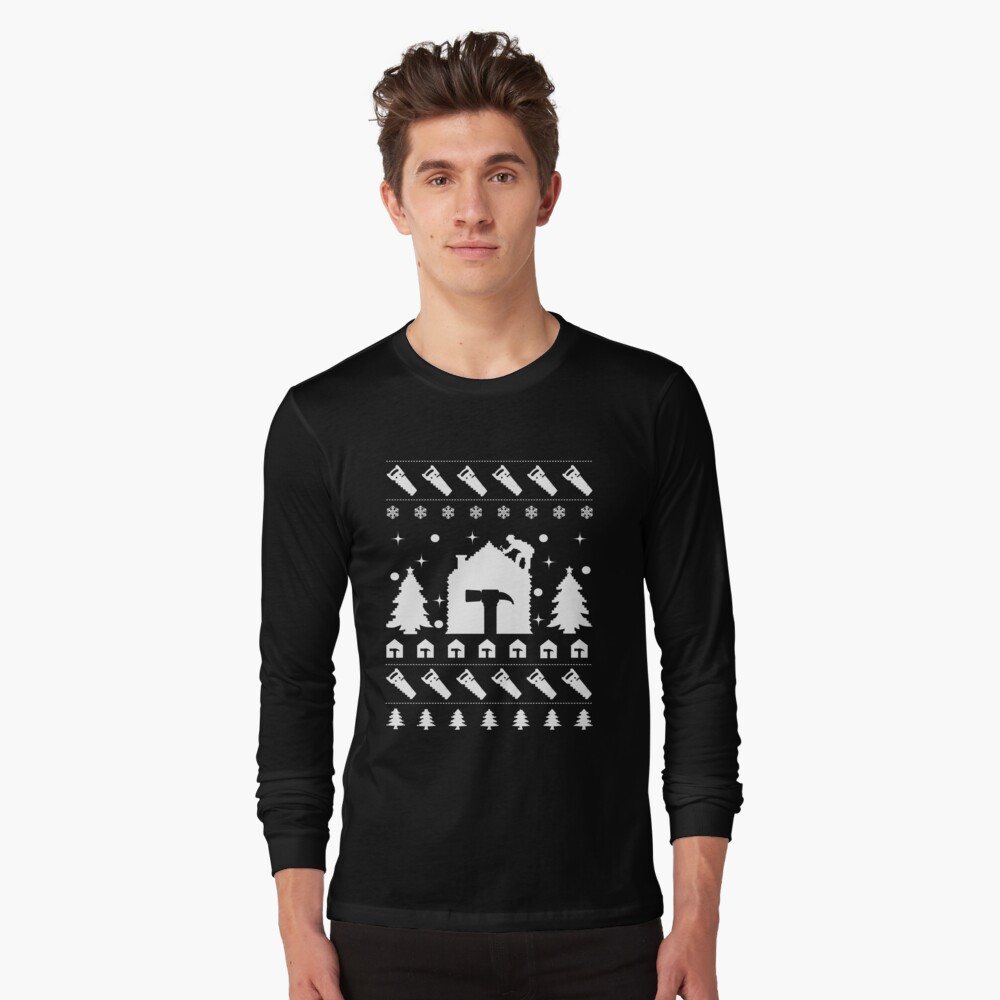 Christmas Contractor Tradesman Repairman Rooftop. Long Sleeve T-Shirt