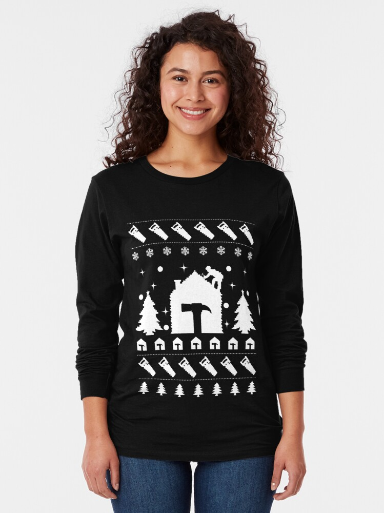 Alternate view of Christmas Contractor Tradesman Repairman Rooftop. Long Sleeve T-Shirt