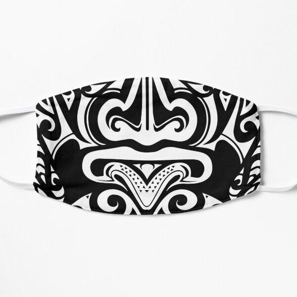 Maori Face Mask - White Over Black Flat Mask