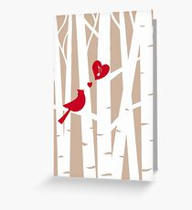 Valentine's Day Love Song with Red Cardinal in Birch Trees  Greeting Card