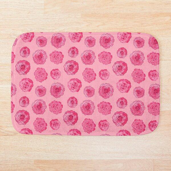 Stylized Roses on Light Pink Bath Mat