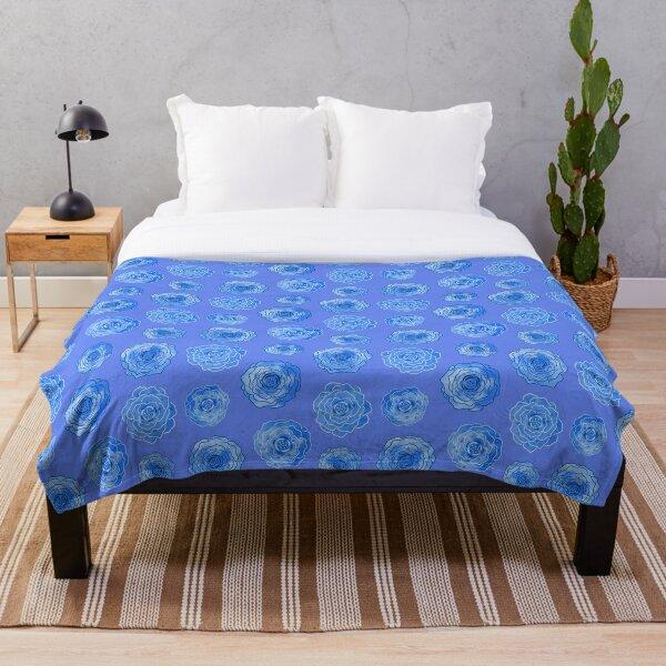 Stylized Blue Roses Throw Blanket