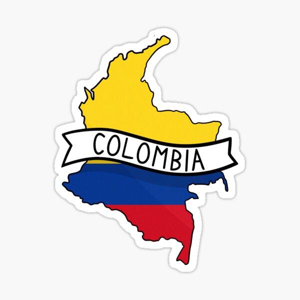 Colombia Flag Map Sticker Sticker