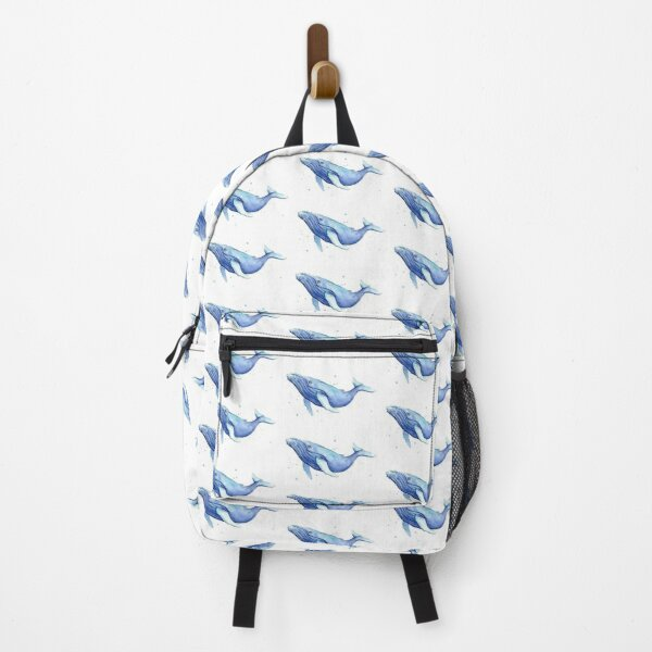 Humpback Whale Blue Watercolor Painting Backpack