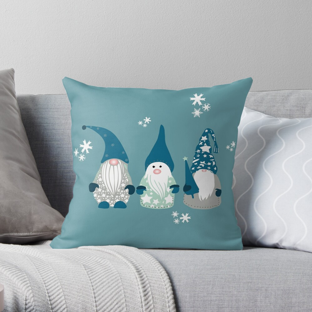 Trio of Gnomes  Throw Pillow