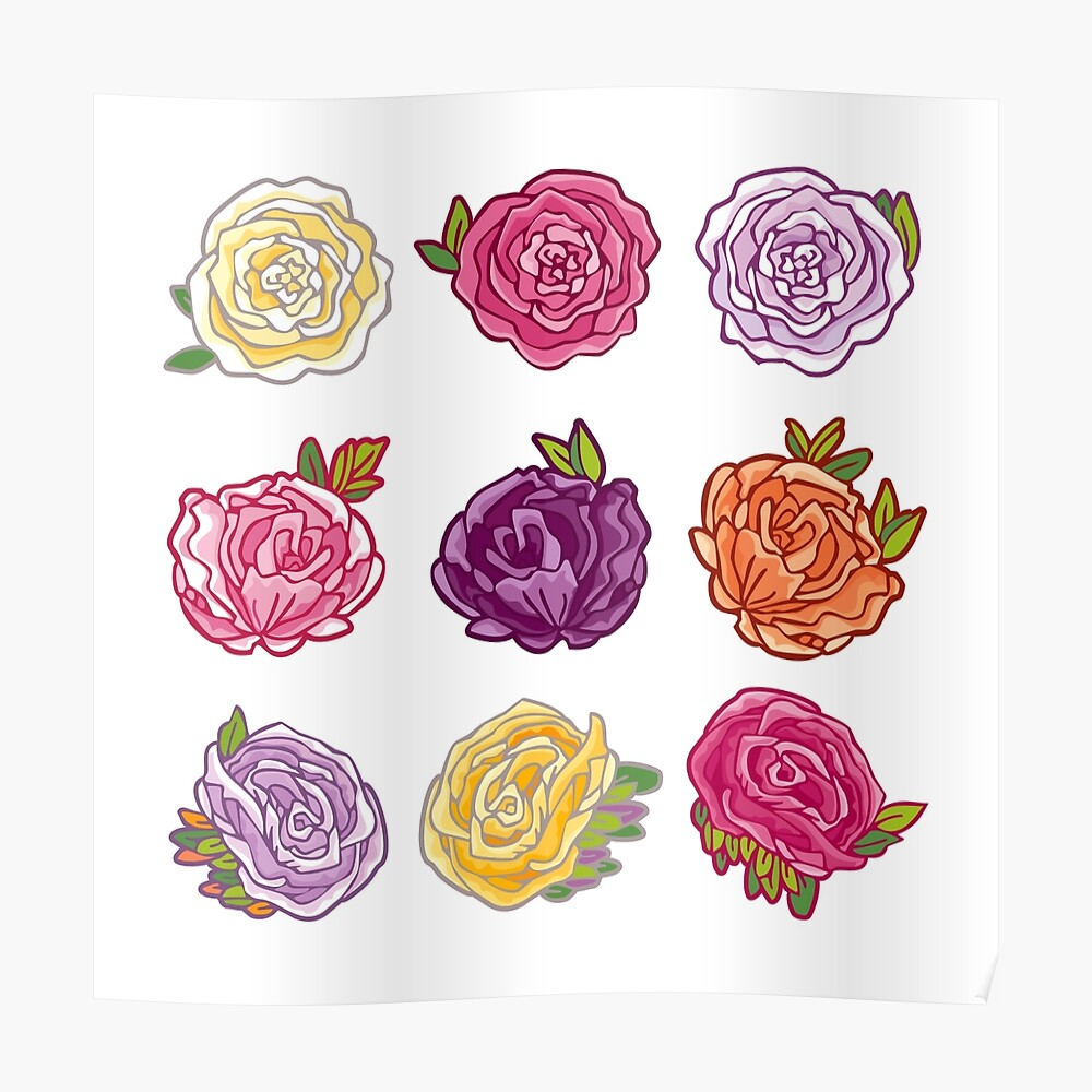 Decorative Roses Poster