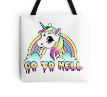 """""""Go To Hell"""" Pastel Goth Unicorn  Tote Bag"""