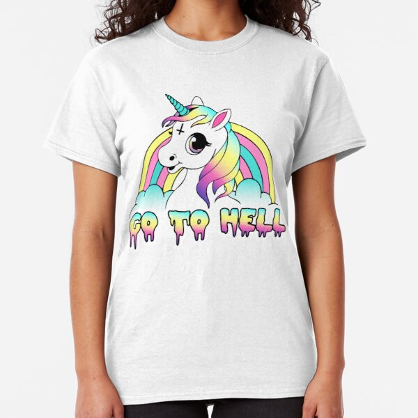 """Go To Hell"" Pastel Goth Unicorn  Classic T-Shirt"