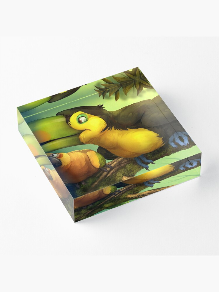 Alternate view of Toucan and Sun Conures! Acrylic Block