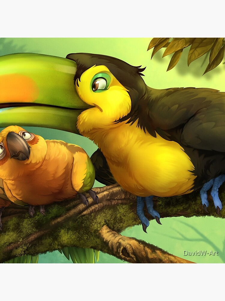 Toucan and Sun Conures! by DavidW-Art