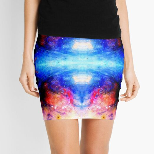 Fukuhana - Blue Red Abstract Batik Mandala Art Mini Skirt