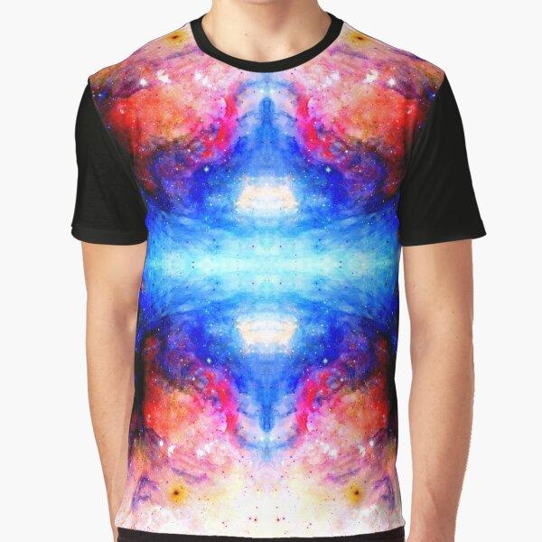 Fukuhana - Blue Red Abstract Batik Mandala Art Graphic T-Shirt