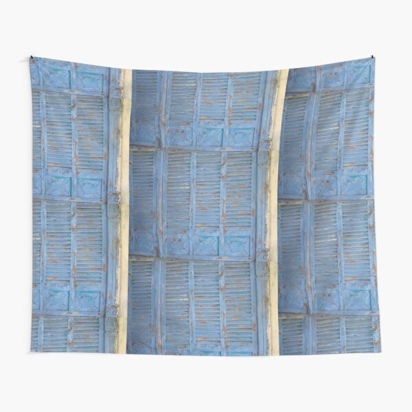 Blue window, rustic wood, turquoise, Rustic window  Tapestry