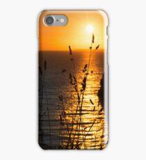 beautiful sunset over the virgin rock grass iPhone Case/Skin