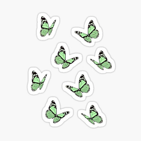 Pastel Green Butterflies Sticker