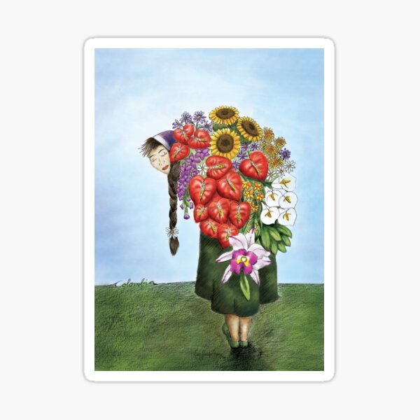 Mujer con flores Pegatina