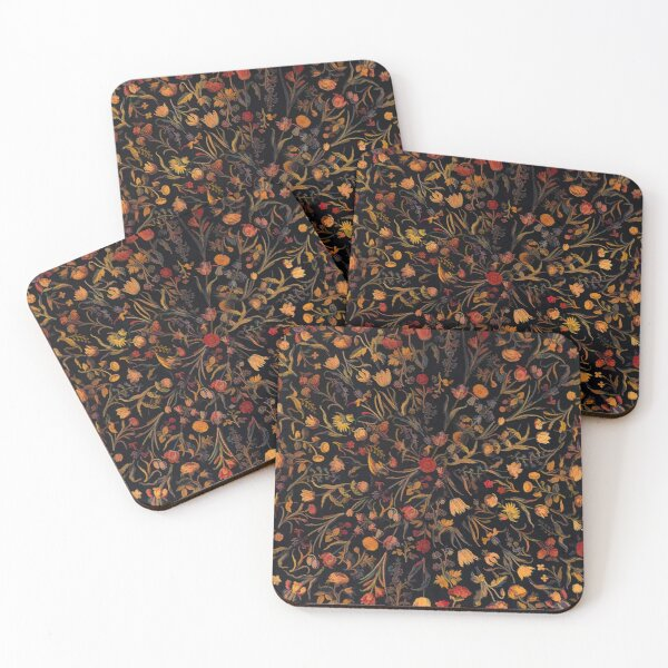 Midnight Floral Coasters (Set of 4)