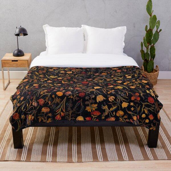 Midnight Floral Throw Blanket