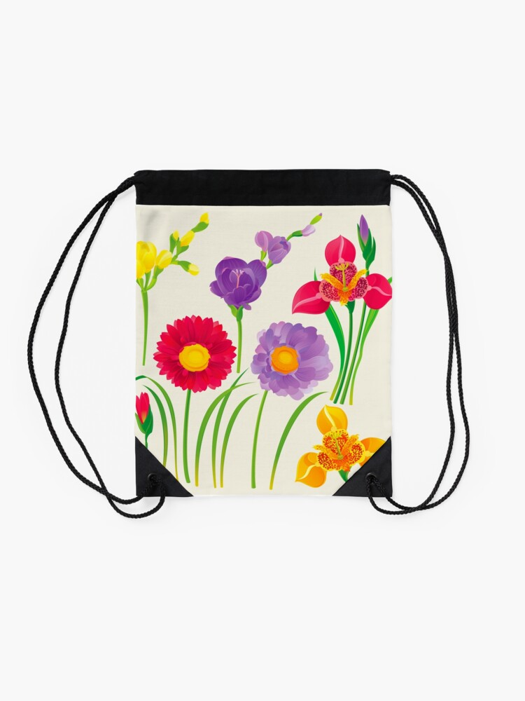 Alternate view of Spring Flowers Drawstring Bag