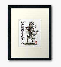 Female Samurai with Japanese Calligraphy 7 Virtues Framed Print