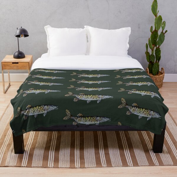 Musky Fish Drawing Dark Green Throw Blanket
