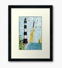 Cape Canaveral Lighthouse FL Nautical Chart Map Cathy Peek Framed Print