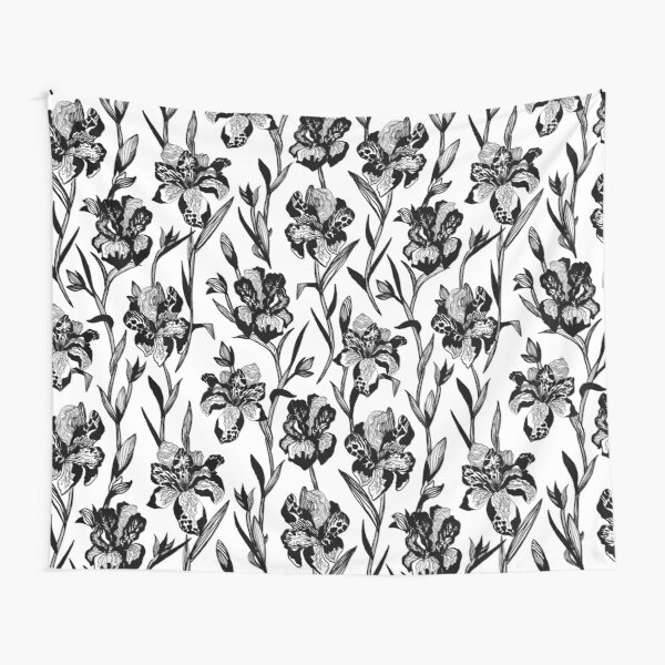 Black and white iris floral pattern Tapestry