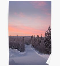 Snow Road and Lapland sunset Poster