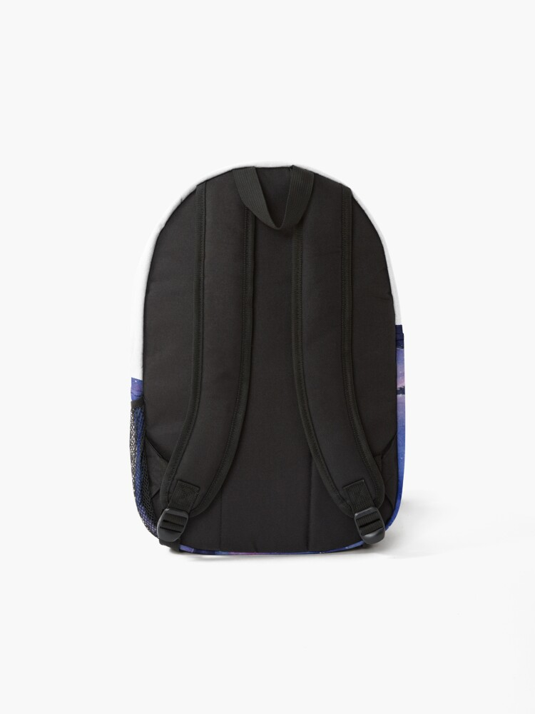 Alternate view of Wolf Howling Rainbow in Space Backpack