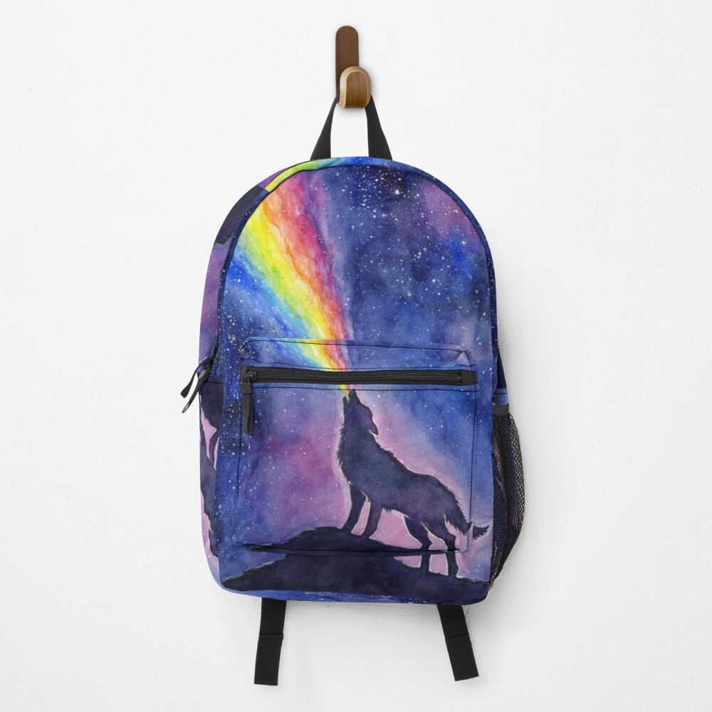 Wolf Howling Rainbow in Space Backpack