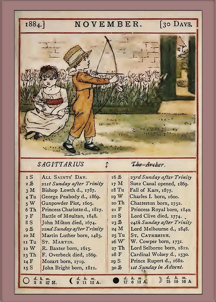 Greetings-Kate Greenaway November Almanac Page by Yesteryears